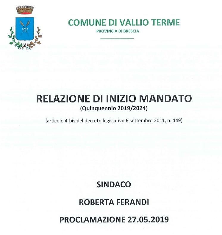 RELAZIONE DI INIZIO MANDATO 2019-2024