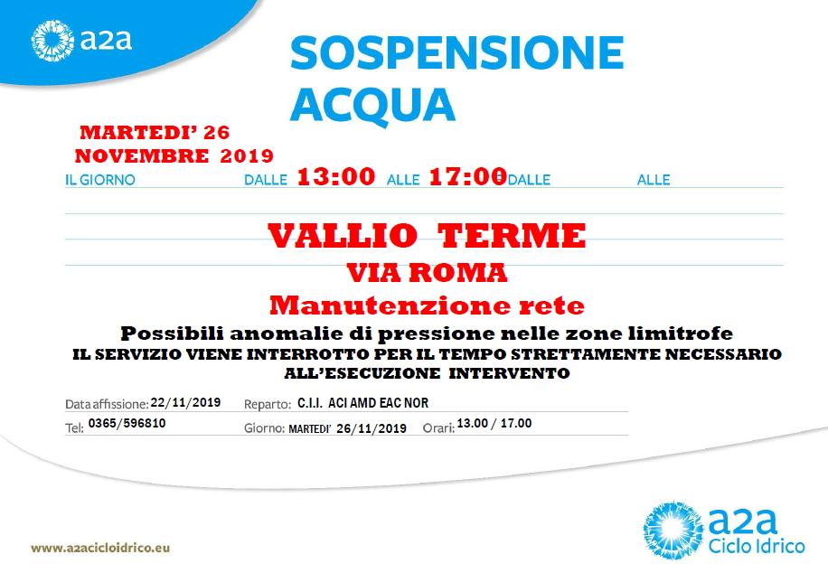 SOSPENSIONE ACQUA 26 NOVEMBRE - VIA ROMA