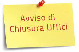 AVVISO - CHIUSRA UFFICI PER PATRONO SS. PIETRO E PAOLO - 29/06/2021